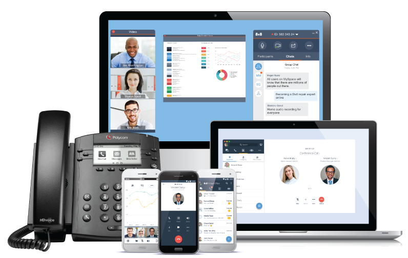 8x8 cloud communications on different devices