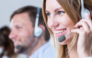 Cloud contact centre staff on calls