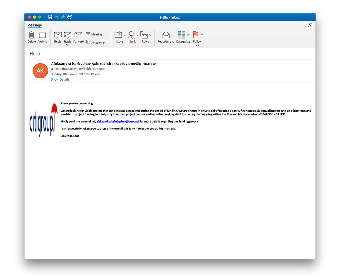 Screenshot of example spam email