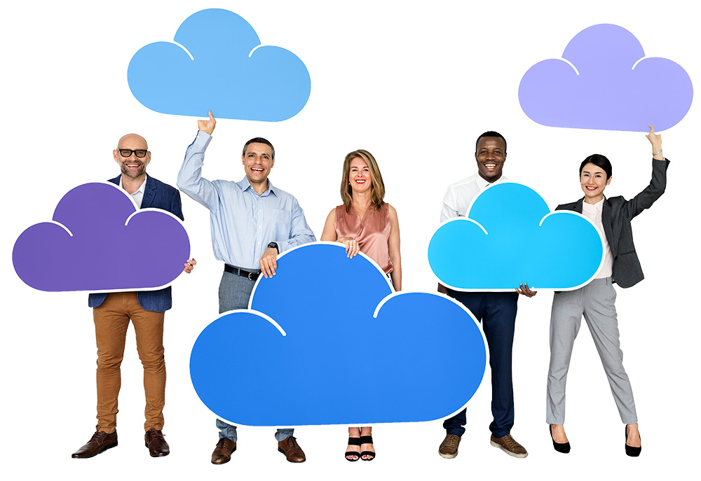 Group of people holding cloud icons