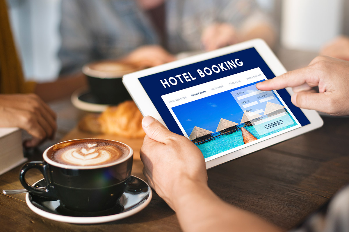 Hotel booking site on ipad